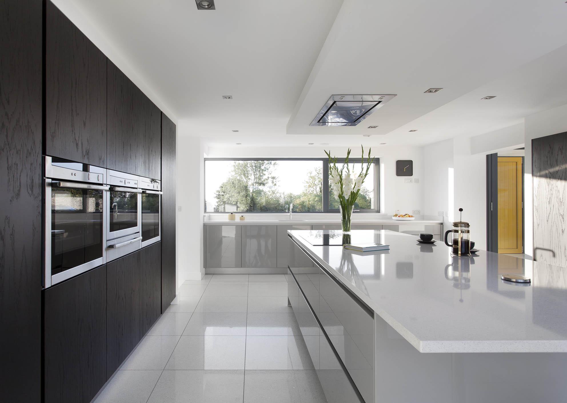 Walnut kitchen dublin for Black and grey kitchen designs